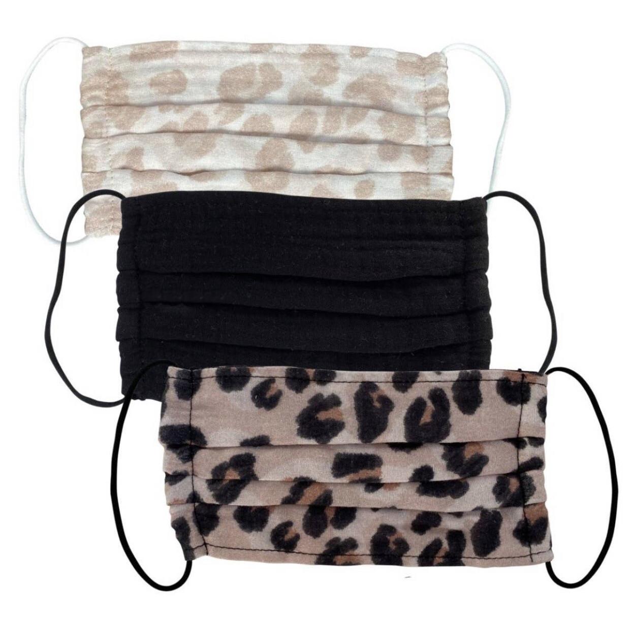 3pc Cotton Face Mask, Leopard