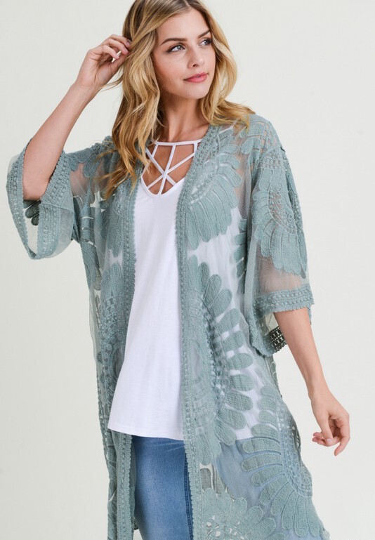 Lace Kimono, Sage