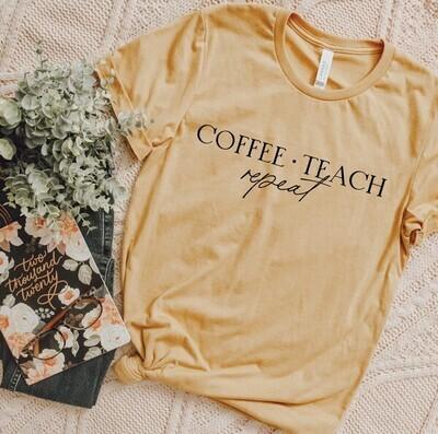Coffee & Teach Tee, Mustard