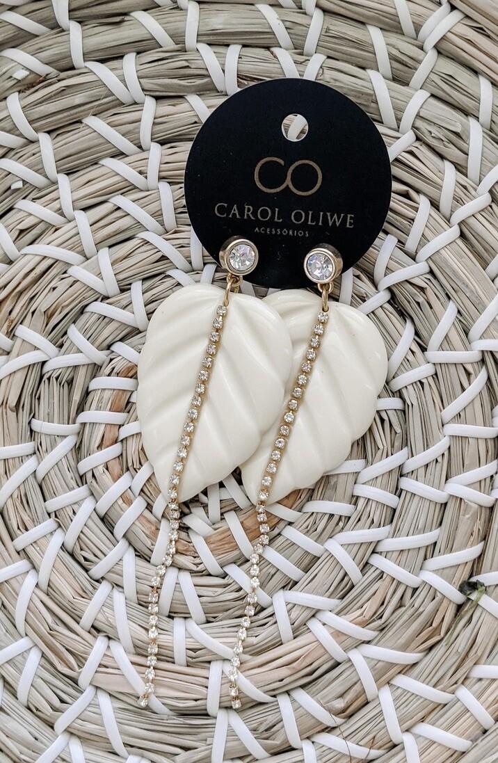 Fancy Ivory Colocasia Earrings