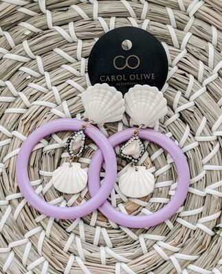 Fan Scallop Lavender Earrings