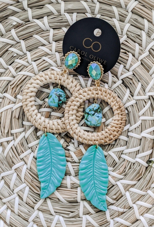 Turquoise Banana Leaf Round Rattan Earrings