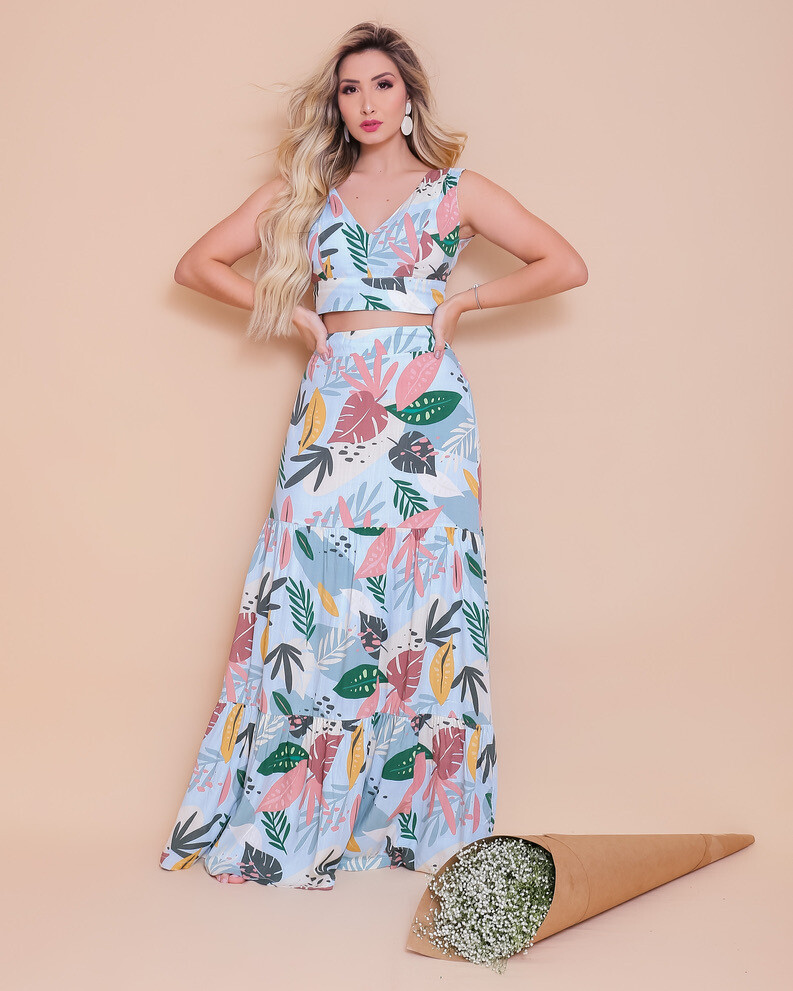 Blue Tropical Leaves Print Two-Piece Dress