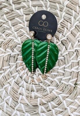 Fancy Green Colocasia Earrings