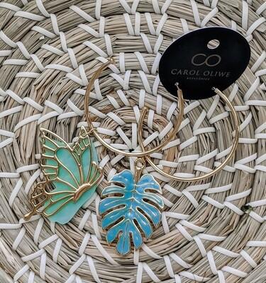 Aqua Tropical Butterfly Earrings