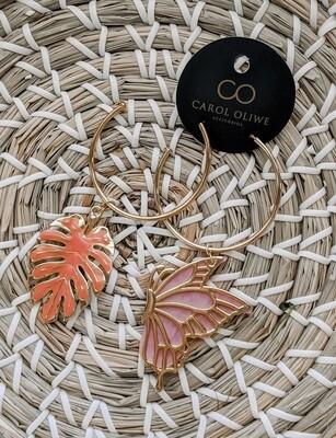 Pink Tropical Butterfly Earrings