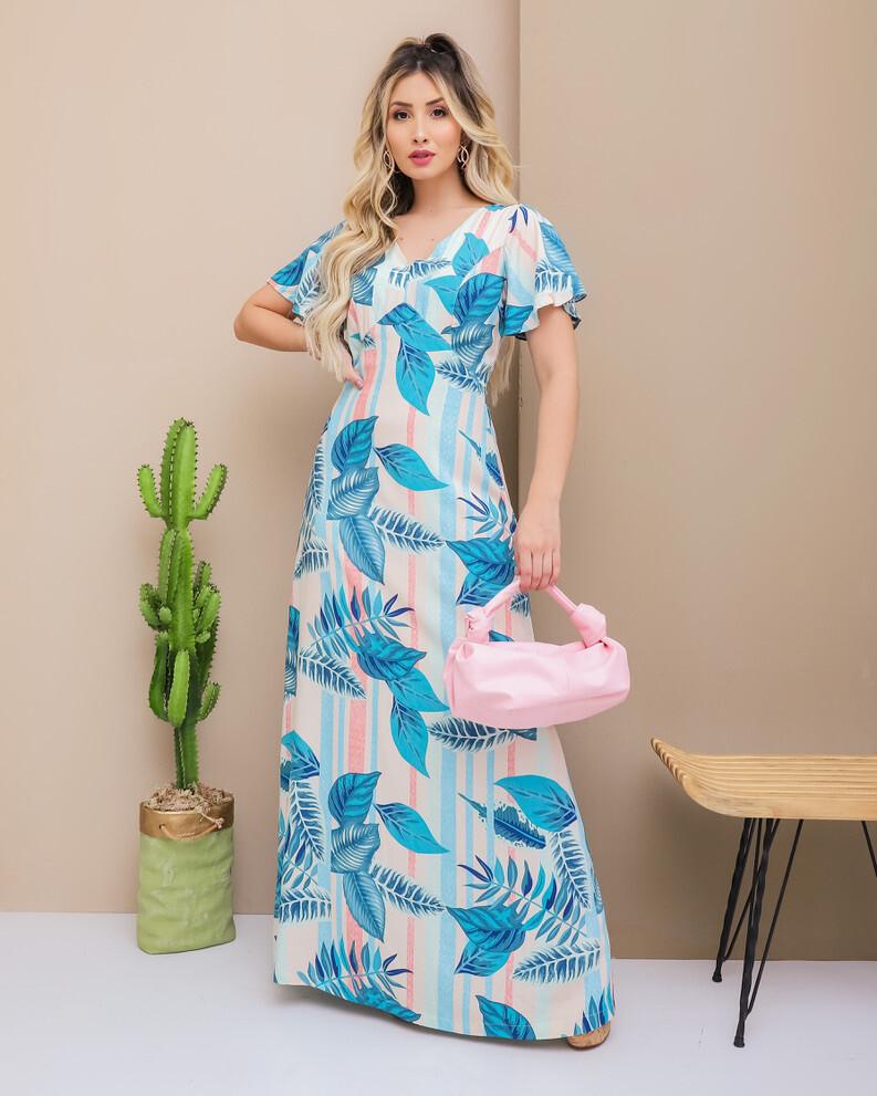 Pastel Tropical Plants Maxi Dress