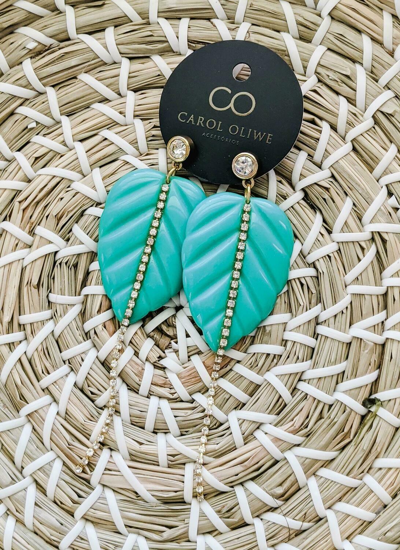 Fancy Aqua Colocasia Earrings