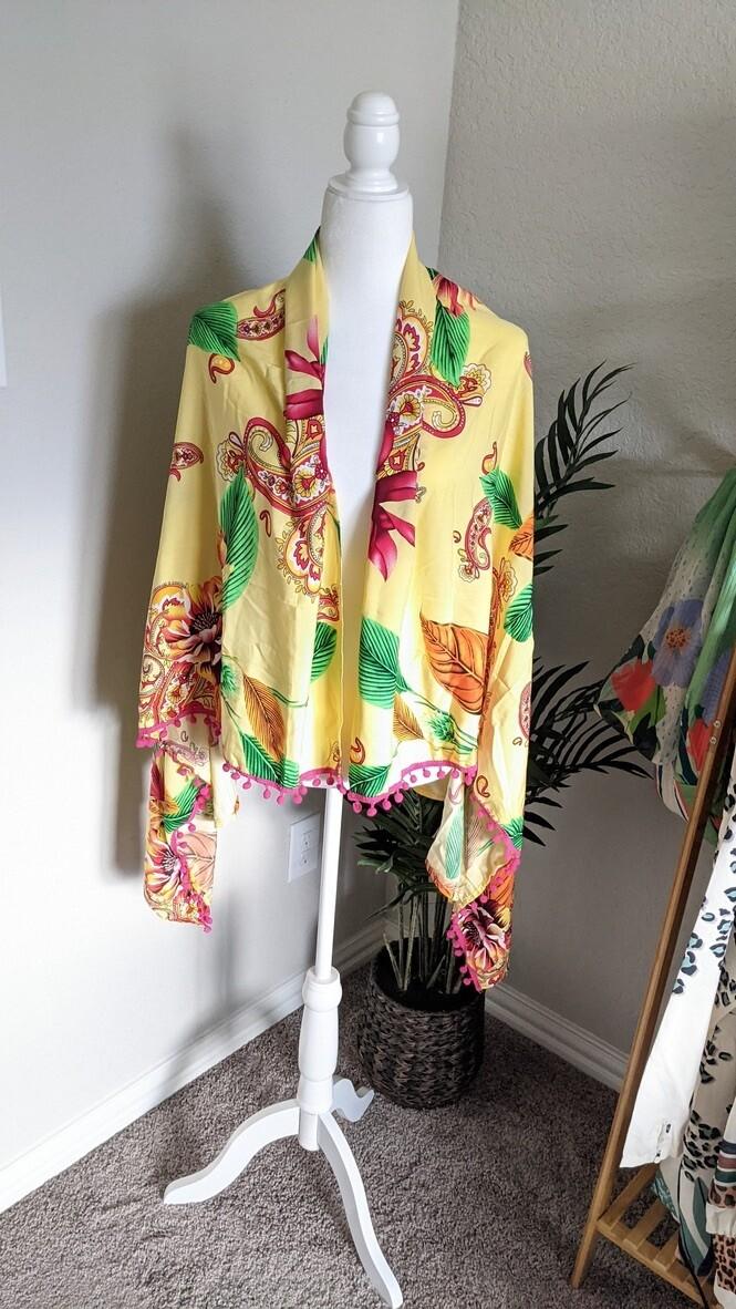 Yellow Tropical Paisley Sarong