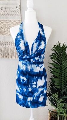 BLUE DYED WRAP DRESS SARONG