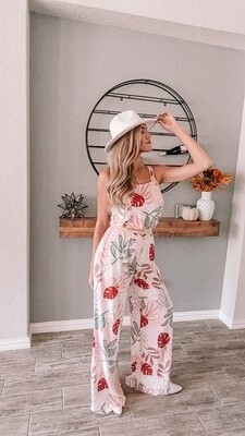 Pink Tropical Leaves Jumpsuit