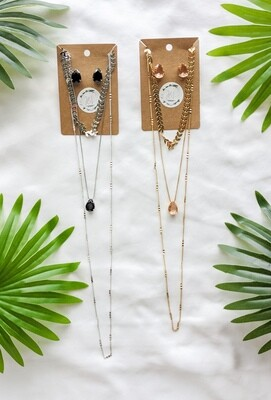 3 LAYERED NECKLACE AND EARRINGS