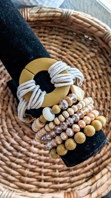 Set Of 6 Bracelets, Olive and Gold