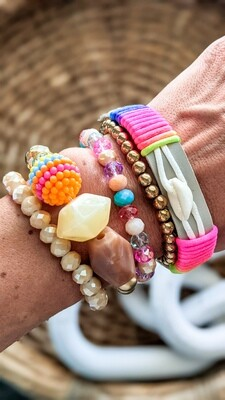 Set Of 5 Bracelets, Neon and Gold