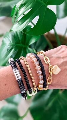 Set Of 6 Bracelets, Black and Gold