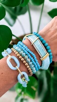 Set Of 7 Bracelets, Blue and Gold