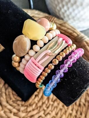 Set Of 5 Bracelets, Pink and Gold