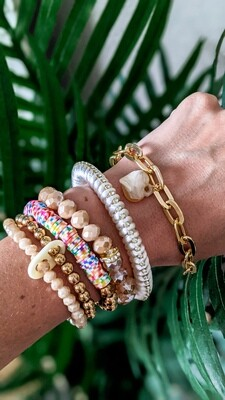 Set Of 6 Bracelets, White and Gold