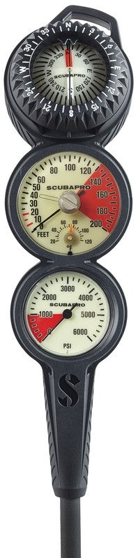 3-GAUGE IN-LINE DIVE CONSOLE W/ FS-2 COMPASS, PGPSI DGFT