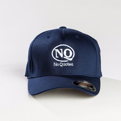 NO Quotes White on Navy Flex Fit Cap (Now Available)