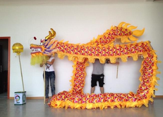 Dragon Chino Amarillo y Dorado hecho a mano original XL