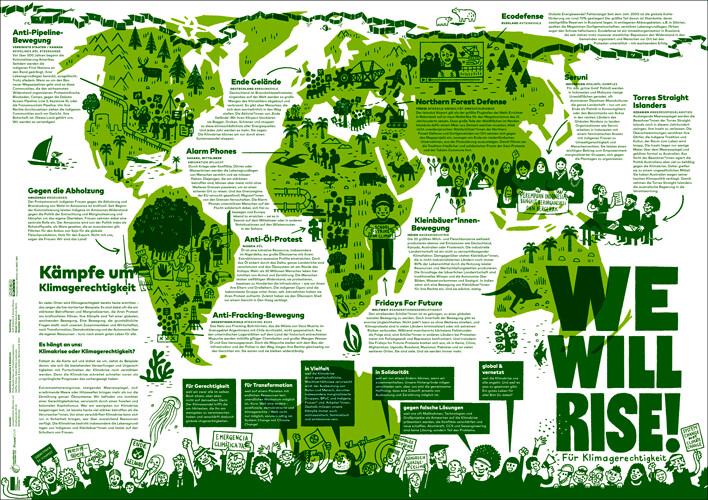 Plakat: We Will Rise! - Für Klimagerechigkeit
