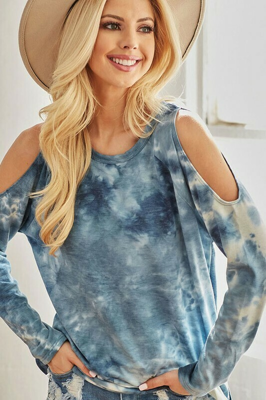 Tie dye French terry cold shoulder top