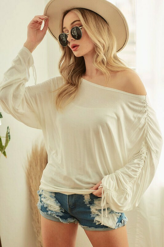 Jersey knit top with ruched sleeves