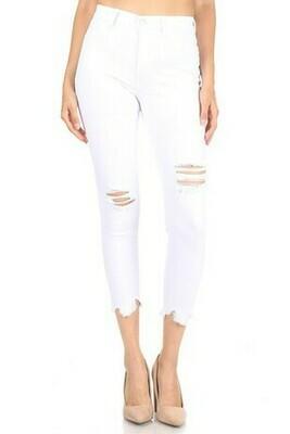 White distressed denim jeans
