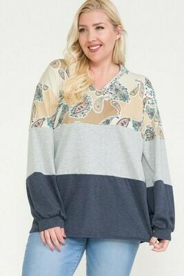 Paisley hooded sweatshirt