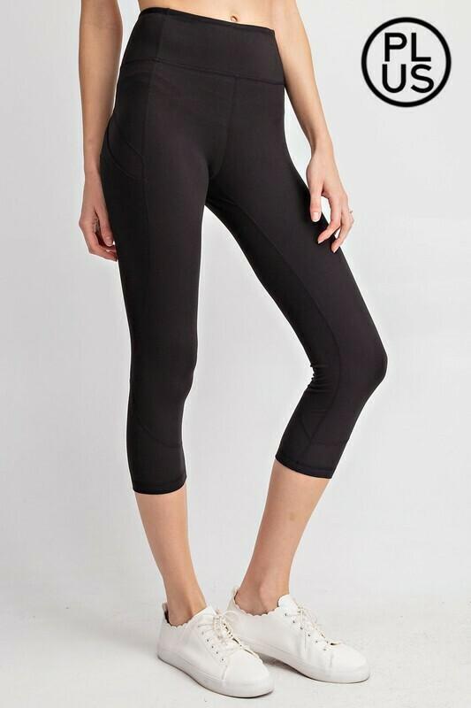 Wide waist capri yoga pant w/pocket plus