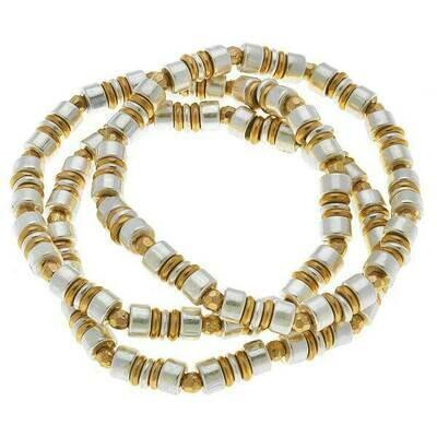 Penelope Beaded Metal Bracelet- CANVAS