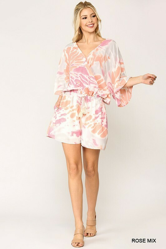 Surplice Dolman Sleeves Romper