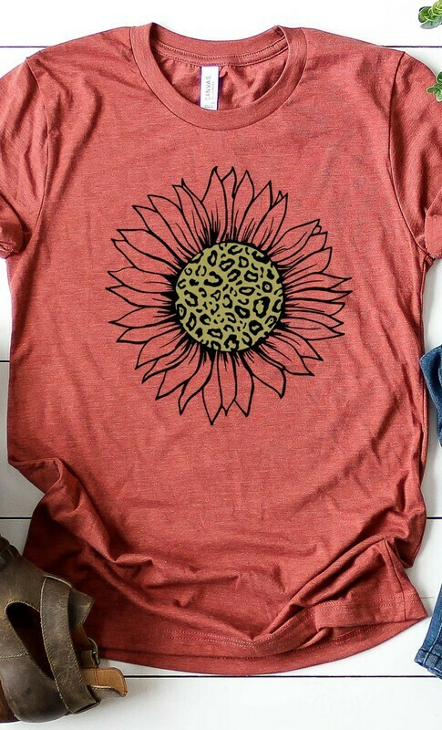 Leopard and gold sunflower graphic tee plus