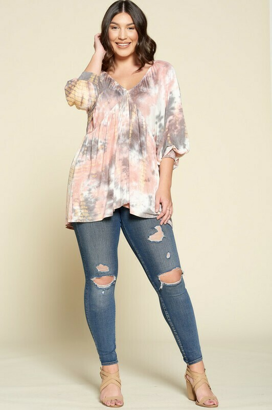 Tie-Dye Knit, V-neck Babydoll Top