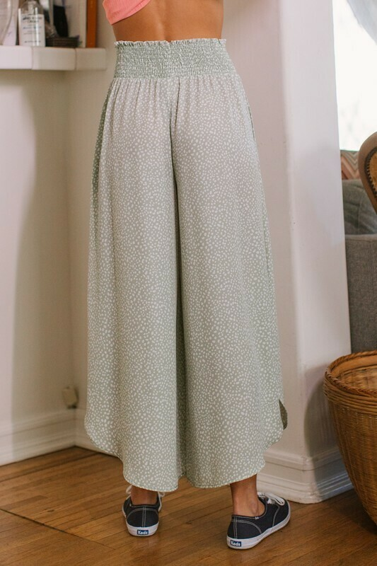 Sage Gaucho Pants dotted