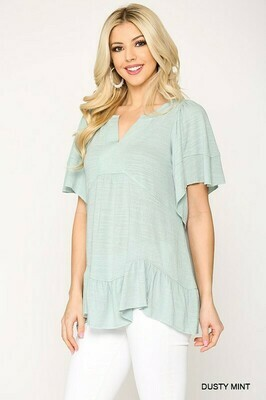 Solid Notch Neck Peasant Tunic Top