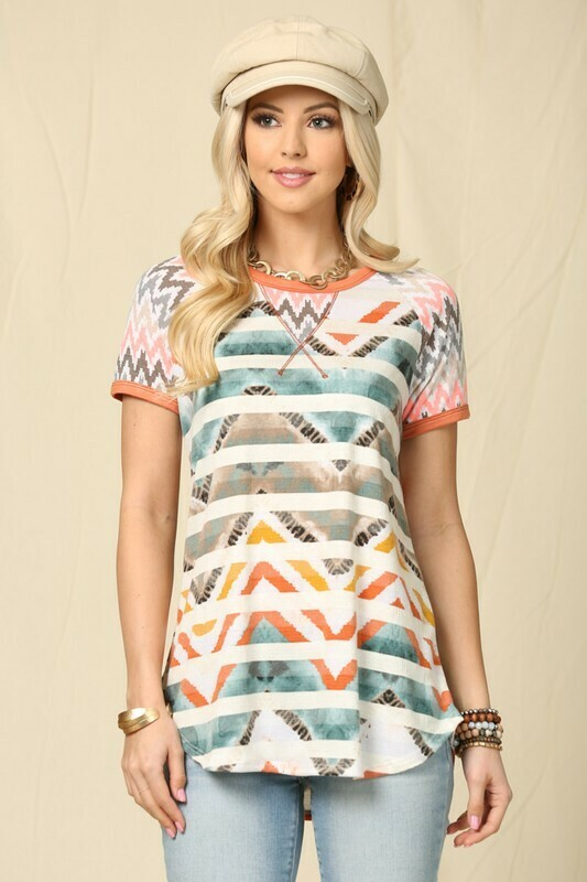 Aztec Patterned Stripe Color Block Fashion Top
