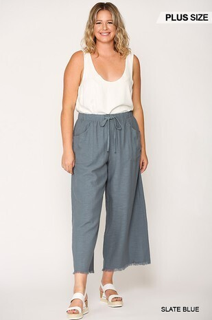 Frayed Wide Leg Pants with Pockets