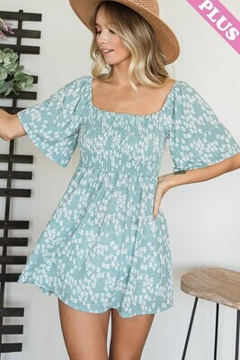 Floral Square Neck Babydoll Top