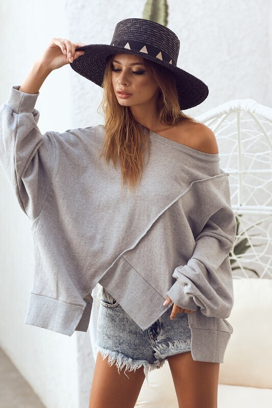 OVER SIZED FRENCH TERRY PULL OVER UNEVEN (CHARCOAL)