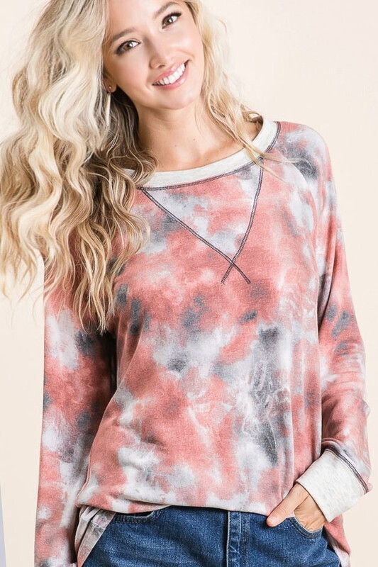 TIE DYE TERRY PULL OVER WITH CONTRAST STITCHING