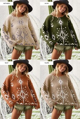 SOFT FUZZY AZTEC PATTERN SWEATER RUST COLOR