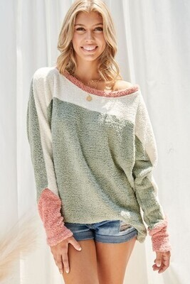Color Block fuzzy sweater