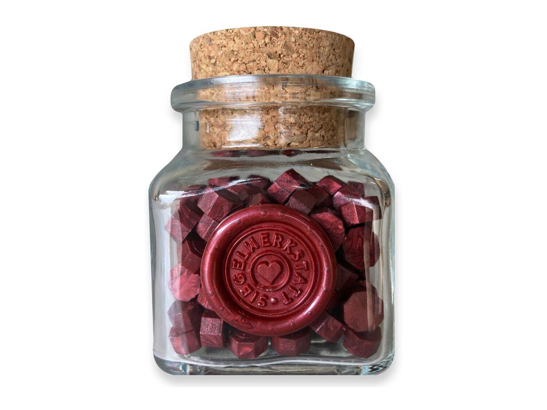 Sealing Wax Beads in Glass Bottle - Burgund Red