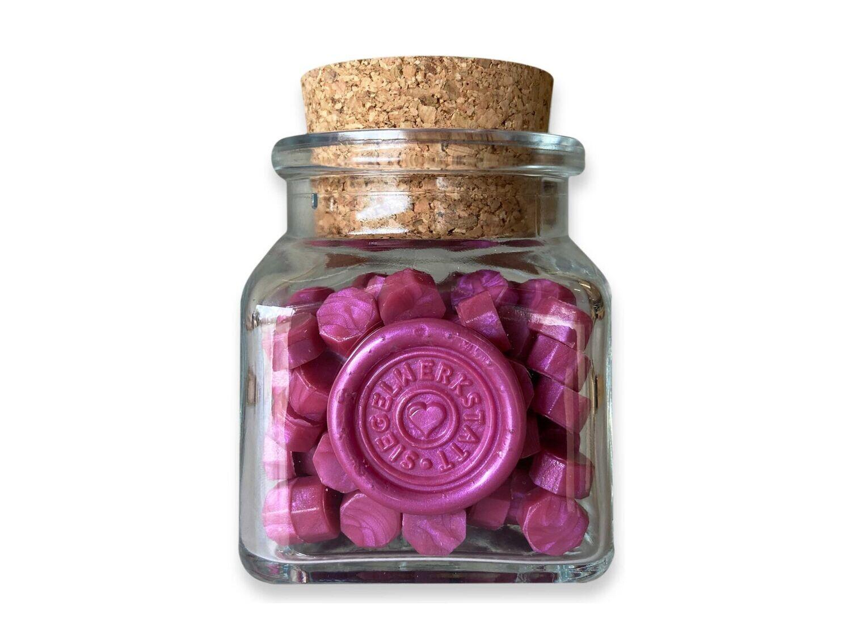 Sealing Wax Beads in Glass Bottle - Fuchsia