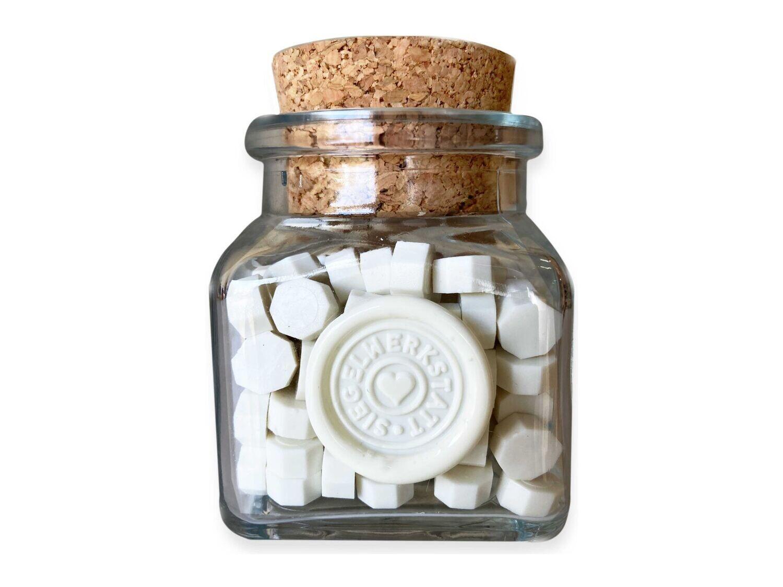 Sealing Wax Beads in Glass Bottle - Ivory