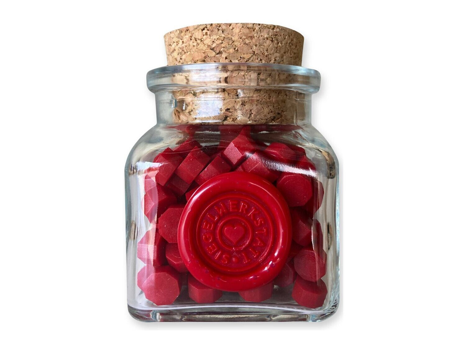 Sealing Wax Beads in Glass Bottle - Red