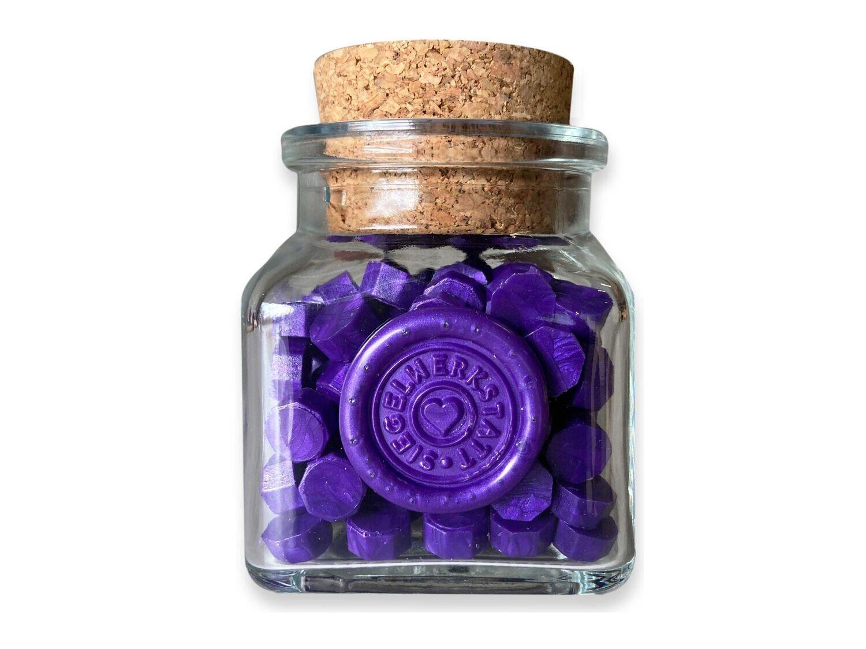 Sealing Wax Beads in Glass Bottle - Purple