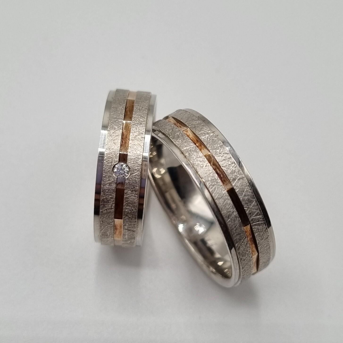 Partnerringe Silber/Rotgold